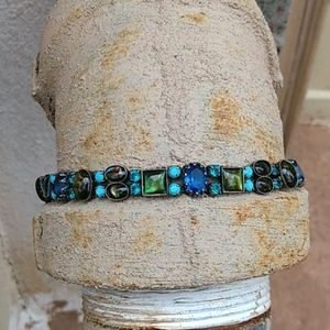 """Mary Demarco 7"""" Bracelet Blue & Green"""
